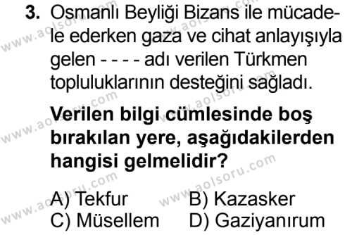 Tarih 3 Dersi 2014 - 2015 Yılı Ek Sınavı 3. Soru