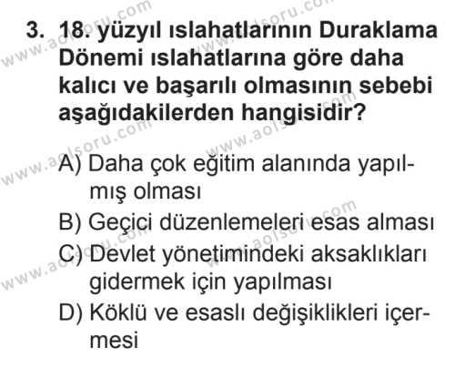 Tarih 4 Dersi 2017 - 2018 Yılı 3. Dönem Sınavı 3. Soru