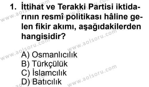 T.C. İnklap Tarihi ve Atatürkçülük 1 Dersi 2011 - 2012 Yılı Ek Sınav Soruları 1. Soru