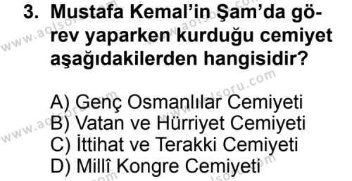 T.C. İnklap Tarihi ve Atatürkçülük 1 Dersi 2011 - 2012 Yılı Ek Sınav Soruları 3. Soru
