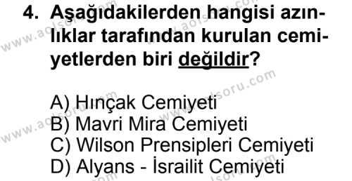 T.C. İnklap Tarihi ve Atatürkçülük 1 Dersi 2011 - 2012 Yılı Ek Sınav Soruları 4. Soru
