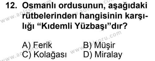 T.C. İnklap Tarihi ve Atatürkçülük 1 Dersi 2013-2014 Yılı 1. Dönem Sınavı 12. Soru