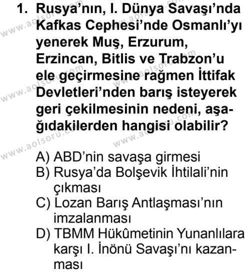T.C. İnklap Tarihi ve Atatürkçülük 1 Dersi 2013 - 2014 Yılı 3. Dönem Sınav Soruları 1. Soru