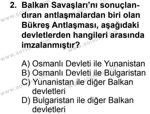 T.C. İnklap Tarihi ve Atatürkçülük 1 Dersi 2013 - 2014 Yılı 3. Dönem Sınav Soruları 2. Soru
