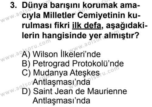 T.C. İnklap Tarihi ve Atatürkçülük 1 Dersi 2013 - 2014 Yılı 3. Dönem Sınav Soruları 3. Soru