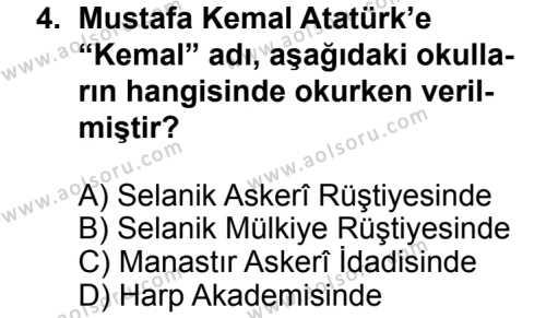 T.C. İnklap Tarihi ve Atatürkçülük 1 Dersi 2013 - 2014 Yılı 3. Dönem Sınav Soruları 4. Soru