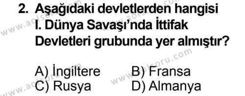 T.C. İnklap Tarihi ve Atatürkçülük 1 Dersi 2014 - 2015 Yılı 3. Dönem Sınavı 2. Soru