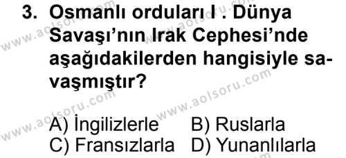 T.C. İnklap Tarihi ve Atatürkçülük 1 Dersi 2014 - 2015 Yılı 3. Dönem Sınavı 3. Soru