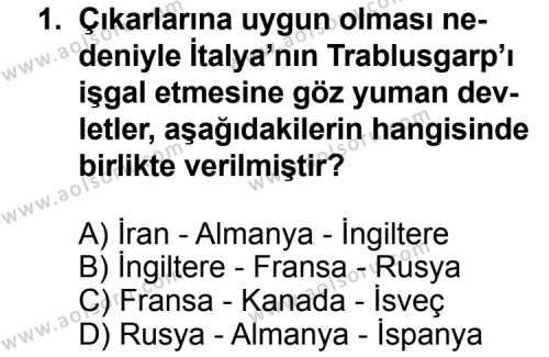 T.C. İnklap Tarihi ve Atatürkçülük 1 Dersi 2014 - 2015 Yılı Ek Sınav Soruları 1. Soru