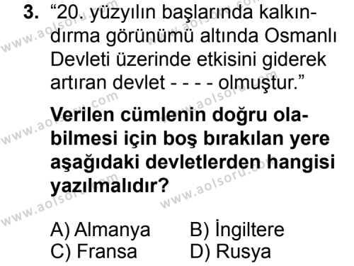 T.C. İnklap Tarihi ve Atatürkçülük 1 Dersi 2014 - 2015 Yılı Ek Sınav Soruları 3. Soru