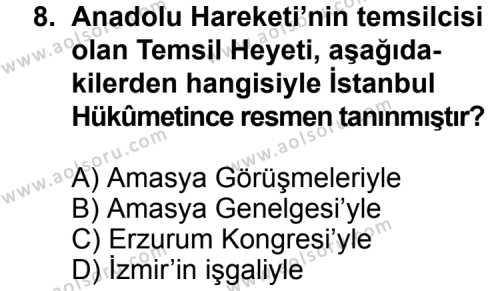T.C. İnklap Tarihi ve Atatürkçülük 1 Dersi 2015-2016 Yılı 1. Dönem Sınavı 8. Soru
