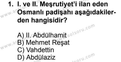 T.C. İnklap Tarihi ve Atatürkçülük 1 Dersi 2015 - 2016 Yılı 3. Dönem Sınavı 1. Soru
