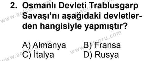 T.C. İnklap Tarihi ve Atatürkçülük 1 Dersi 2015 - 2016 Yılı 3. Dönem Sınavı 2. Soru