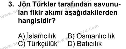 T.C. İnklap Tarihi ve Atatürkçülük 1 Dersi 2015 - 2016 Yılı 3. Dönem Sınavı 3. Soru