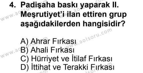 T.C. İnklap Tarihi ve Atatürkçülük 1 Dersi 2015 - 2016 Yılı 3. Dönem Sınavı 4. Soru