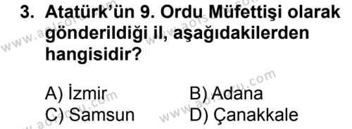 T.C. İnklap Tarihi ve Atatürkçülük 1 Dersi 2016-2017 Yılı 1. Dönem Sınavı 3. Soru