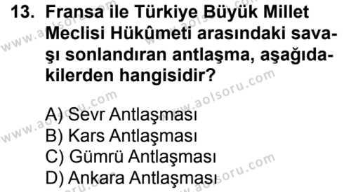T.C. İnklap Tarihi ve Atatürkçülük 1 Dersi 2017-2018 Yılı 1. Dönem Sınavı 13. Soru
