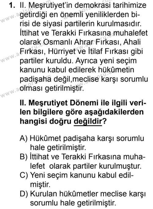 T.C. İnklap Tarihi ve Atatürkçülük 1 Dersi 2017 - 2018 Yılı 2. Dönem Sınavı 1. Soru