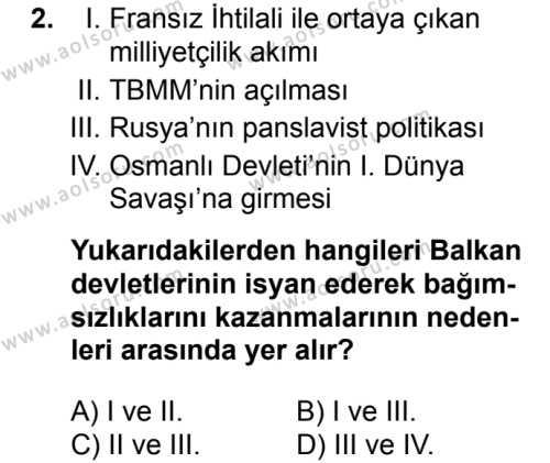 T.C. İnklap Tarihi ve Atatürkçülük 1 Dersi 2017 - 2018 Yılı 2. Dönem Sınavı 2. Soru