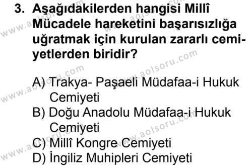 T.C. İnklap Tarihi ve Atatürkçülük 1 Dersi 2017 - 2018 Yılı 2. Dönem Sınavı 3. Soru