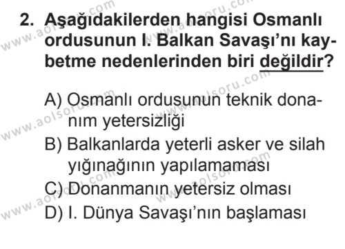 T.C. İnklap Tarihi ve Atatürkçülük 1 Dersi 2017 - 2018 Yılı 3. Dönem Sınavı 2. Soru