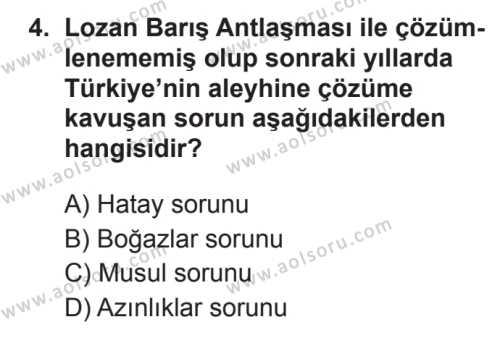 T.C. İnklap Tarihi ve Atatürkçülük 1 Dersi 2017 - 2018 Yılı 3. Dönem Sınavı 4. Soru