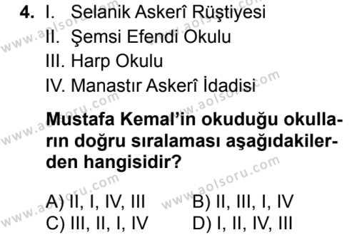 T.C. İnklap Tarihi ve Atatürkçülük 1 Dersi 2017 - 2018 Yılı Ek Sınavı 4. Soru