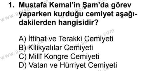 T.C. İnklap Tarihi ve Atatürkçülük 1 Dersi 2018 - 2019 Yılı 1. Dönem Sınavı 1. Soru