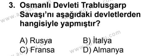 T.C. İnklap Tarihi ve Atatürkçülük 1 Dersi 2018 - 2019 Yılı 1. Dönem Sınavı 3. Soru