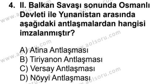 T.C. İnklap Tarihi ve Atatürkçülük 1 Dersi 2018 - 2019 Yılı 1. Dönem Sınav Soruları 4. Soru