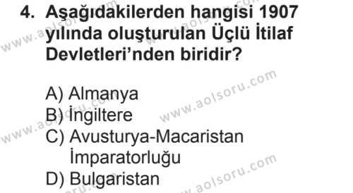 T.C. İnklap Tarihi ve Atatürkçülük 1 Dersi 2018 - 2019 Yılı 2. Dönem Sınavı 4. Soru