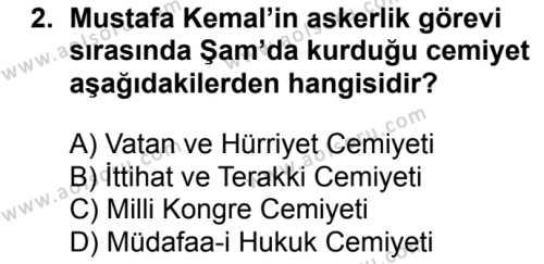 T.C. İnklap Tarihi ve Atatürkçülük 1 Dersi 2018 - 2019 Yılı 3. Dönem Sınavı 2. Soru