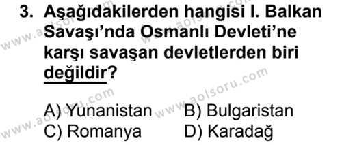 T.C. İnklap Tarihi ve Atatürkçülük 1 Dersi 2018 - 2019 Yılı 3. Dönem Sınavı 3. Soru