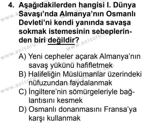 T.C. İnklap Tarihi ve Atatürkçülük 1 Dersi 2018 - 2019 Yılı 3. Dönem Sınavı 4. Soru