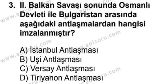 T.C. İnklap Tarihi ve Atatürkçülük 1 Dersi 2018 - 2019 Yılı Ek Sınav Soruları 3. Soru