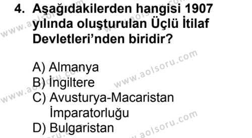 T.C. İnklap Tarihi ve Atatürkçülük 1 Dersi 2018 - 2019 Yılı Ek Sınav Soruları 4. Soru