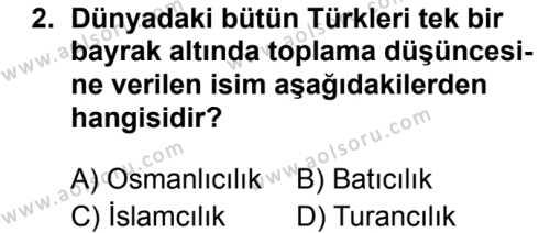 T.C. İnklap Tarihi ve Atatürkçülük 1 Dersi 2019 - 2020 Yılı 1. Dönem Sınav Soruları 2. Soru