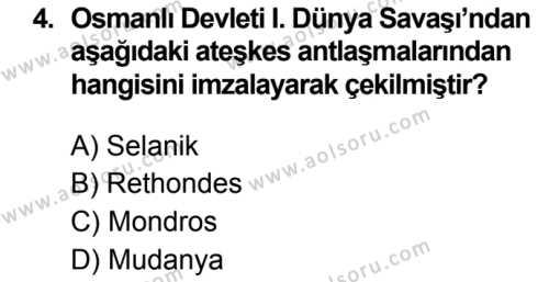T.C. İnklap Tarihi ve Atatürkçülük 1 Dersi 2019 - 2020 Yılı 1. Dönem Sınav Soruları 4. Soru