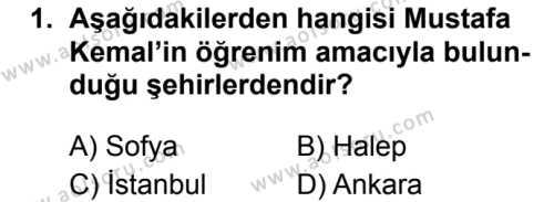 T.C. İnklap Tarihi ve Atatürkçülük 1 Dersi 2019 - 2020 Yılı 2. Dönem Sınav Soruları 1. Soru