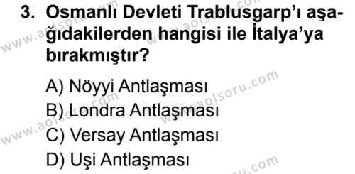 T.C. İnklap Tarihi ve Atatürkçülük 1 Dersi 2019 - 2020 Yılı 2. Dönem Sınav Soruları 3. Soru