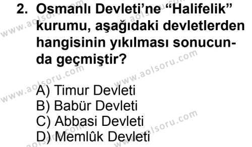 T.C. İnklap Tarihi ve Atatürkçülük 2 Dersi 2011-2012 Yılı 1. Dönem Sınavı 2. Soru