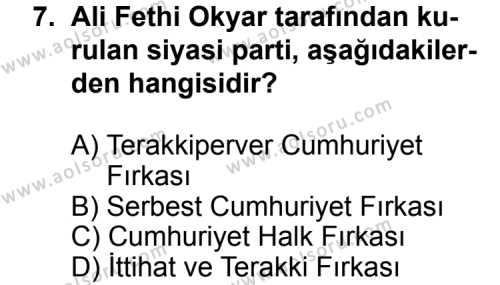 T.C. İnklap Tarihi ve Atatürkçülük 2 Dersi 2011-2012 Yılı 1. Dönem Sınavı 7. Soru