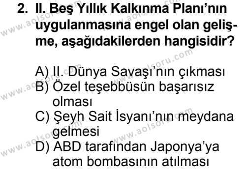 T.C. İnklap Tarihi ve Atatürkçülük 2 Dersi 2011 - 2012 Yılı Ek Sınavı 2. Soru