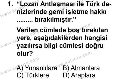 T.C. İnklap Tarihi ve Atatürkçülük 2 Dersi 2012 - 2013 Yılı 3. Dönem Sınav Soruları 1. Soru