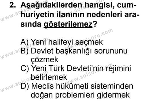 T.C. İnklap Tarihi ve Atatürkçülük 2 Dersi 2012 - 2013 Yılı 3. Dönem Sınav Soruları 2. Soru