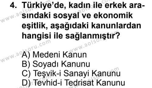 T.C. İnklap Tarihi ve Atatürkçülük 2 Dersi 2012 - 2013 Yılı 3. Dönem Sınav Soruları 4. Soru