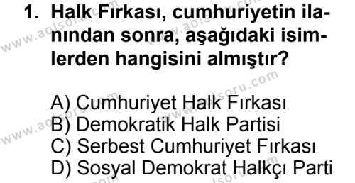 T.C. İnklap Tarihi ve Atatürkçülük 2 Dersi 2013 - 2014 Yılı 3. Dönem Sınav Soruları 1. Soru