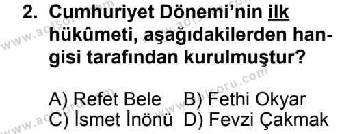 T.C. İnklap Tarihi ve Atatürkçülük 2 Dersi 2013 - 2014 Yılı 3. Dönem Sınav Soruları 2. Soru