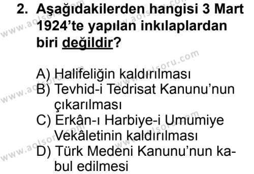 T.C. İnklap Tarihi ve Atatürkçülük 2 Dersi 2014 - 2015 Yılı 3. Dönem Sınav Soruları 2. Soru