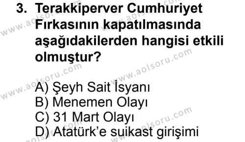 T.C. İnklap Tarihi ve Atatürkçülük 2 Dersi 2014 - 2015 Yılı 3. Dönem Sınav Soruları 3. Soru